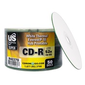 USDM Super Silver CD-R White Thermal Hub Printable 52X